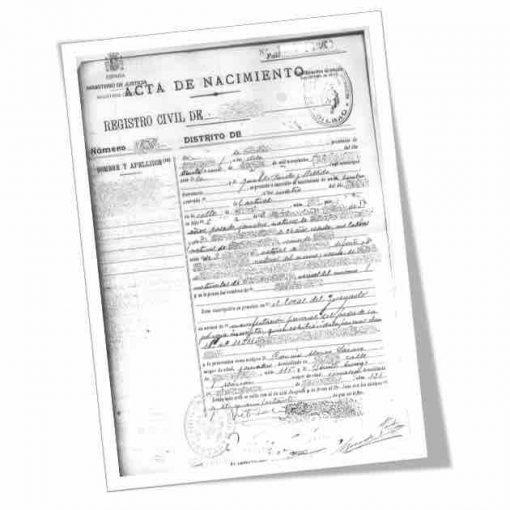 Certificado de nacimiento emitido por el Registro Civil