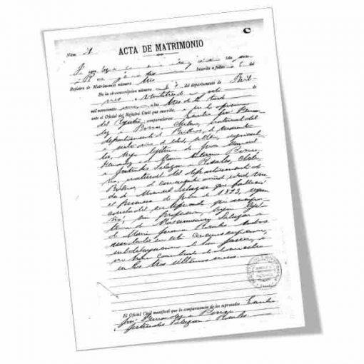 Certificado de matrimonio emitido por el Registro Civil