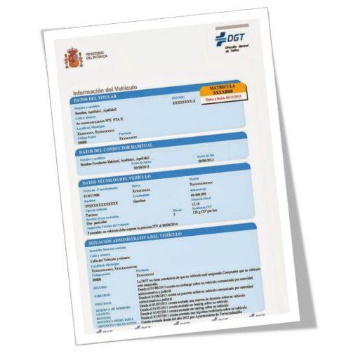 Informe completo sobre un vehículo emitido por la Dirección General de Tráfico (DGT)
