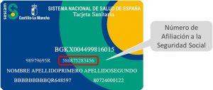 Número de afiliación a la segurida social mediante tarjeta sanitaria