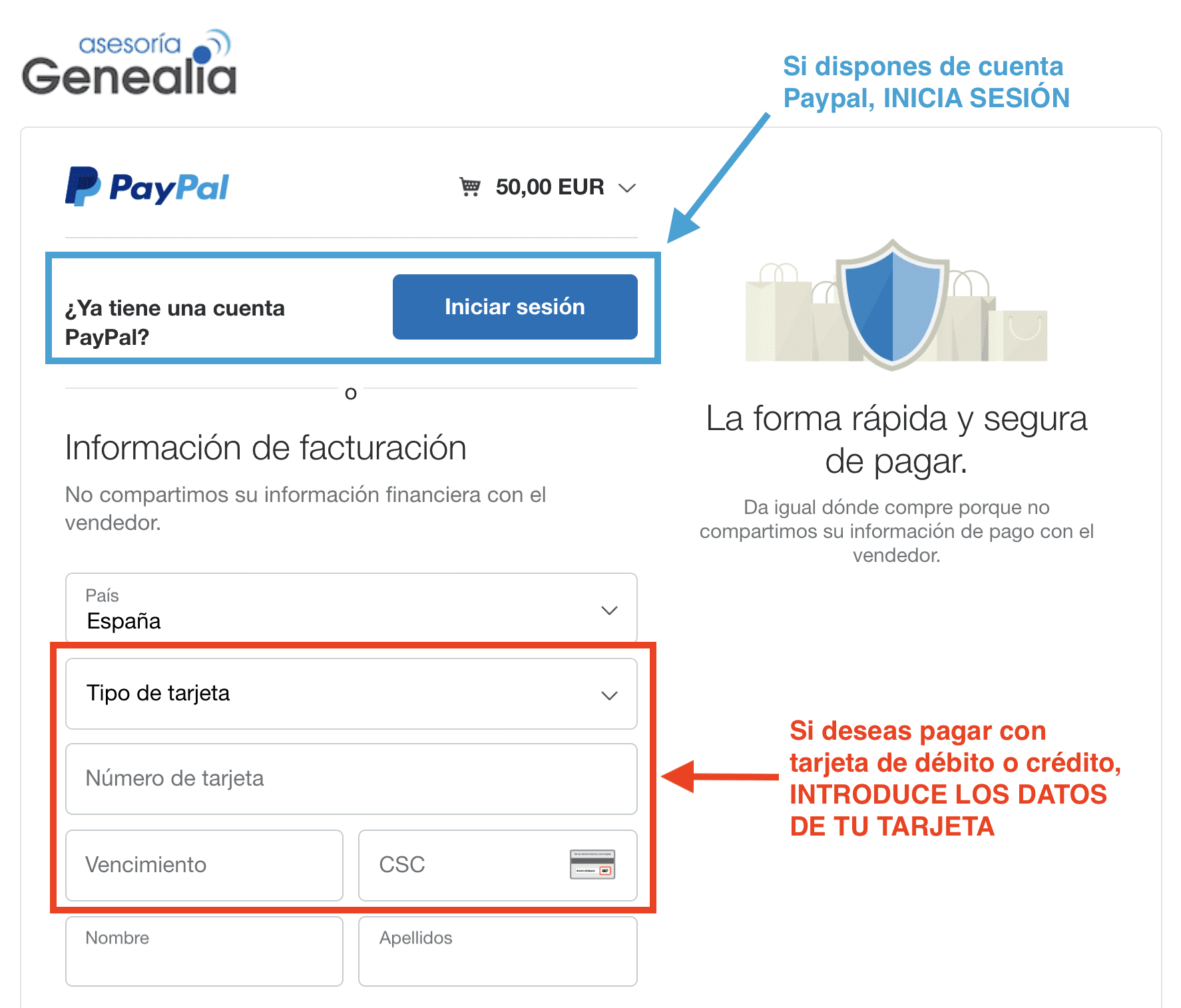 Ventana pago Paypal